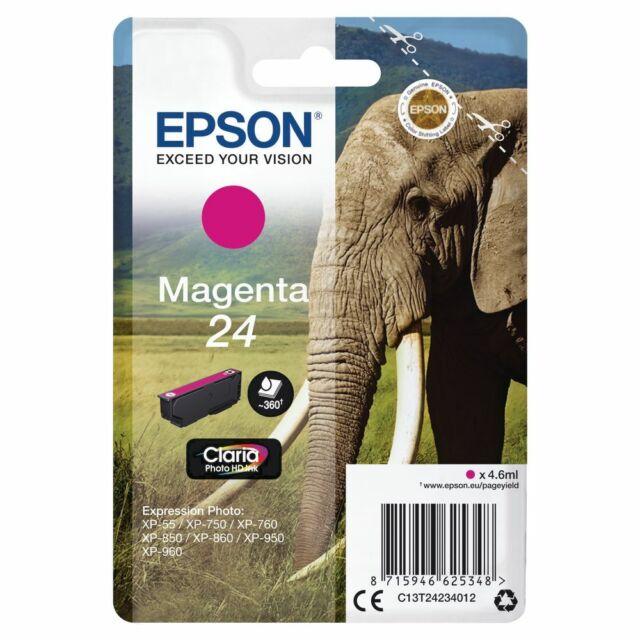 Genuine Epson 24 Elephant Magenta Ink jet Print Cartridge, T2423 C13T24234010
