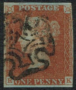 1841 1d Red Black Pl 8 RK STATE 2 Coincident RE-ENTRY Ex Statham Cat £300.00