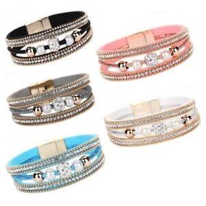 Damen-Multilayer-Armband-Strass-Glitzer-Bracelet-Armschmuck-Geschenk-Magnet-WOW