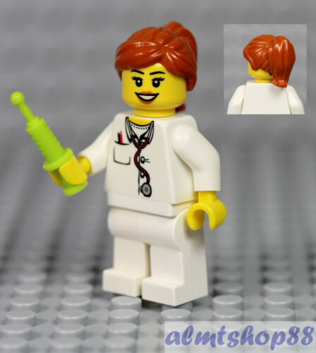 Male Female Minifigure Combo Doctor Nurse w// Syringe Hospital Stethoscope LEGO