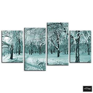 Snowy-Park-Landscapes-BOX-FRAMED-CANVAS-ART-Picture-HDR-280gsm