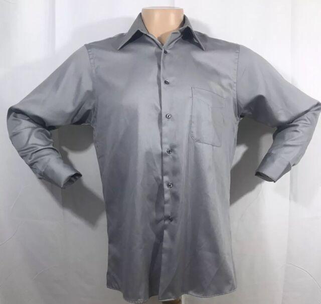$95 GEOFFREY BEENE Men/'s CLASSIC-FIT GRAY WRINKLE-FREE DRESS SHIRT 15.5 32//33 M