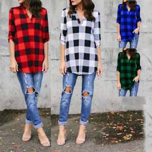 Summer Women V Neck Long Sleeve Check Plaid Cotton Blouses Loose