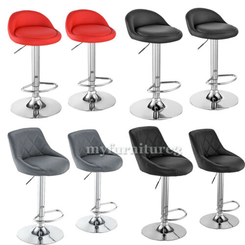2X Bar Stools PU Leather Pub Stool Breakfast Bar Chair Barstool Chrome Kitchen Red,Black,BAR3976-White,BAR3976-Grey,BAR3976-Black