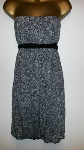 NEW STRAPLESS SUMMER DRESS BLACK /& WHITE TINY LEAVES TIE/'S  AT THE BACK