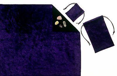 "Amethyst Purple 3-Piece Crush Velvet 18""x20"" Tarot Cloth & Bags Divination Set"