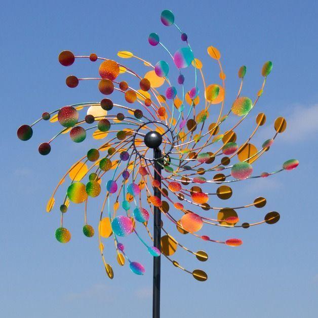 Gigantesco tubina eolica confetti viento juego molino h.214ø 815mm metal enchufe para jardín