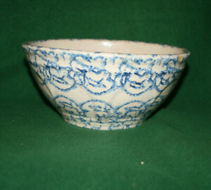 Vintage-Farmhouse-Blue-Kitchen-Spongeware-Stoneware-9-1-4-034-Pottery-Bowl-Inv-BM09