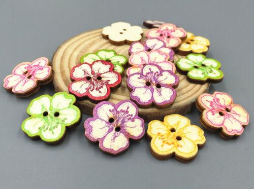 50pcs DIY Wooden sewing buttons scrapbooking Cherry-shape Embellishments 25mm