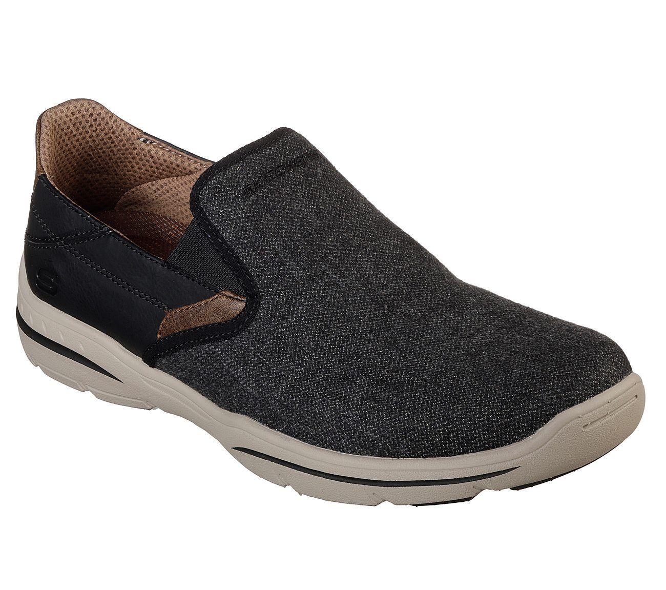 65579 Black Skechers shoes Men Canvas Memory Foam Slip On Comfort Loafer Casual