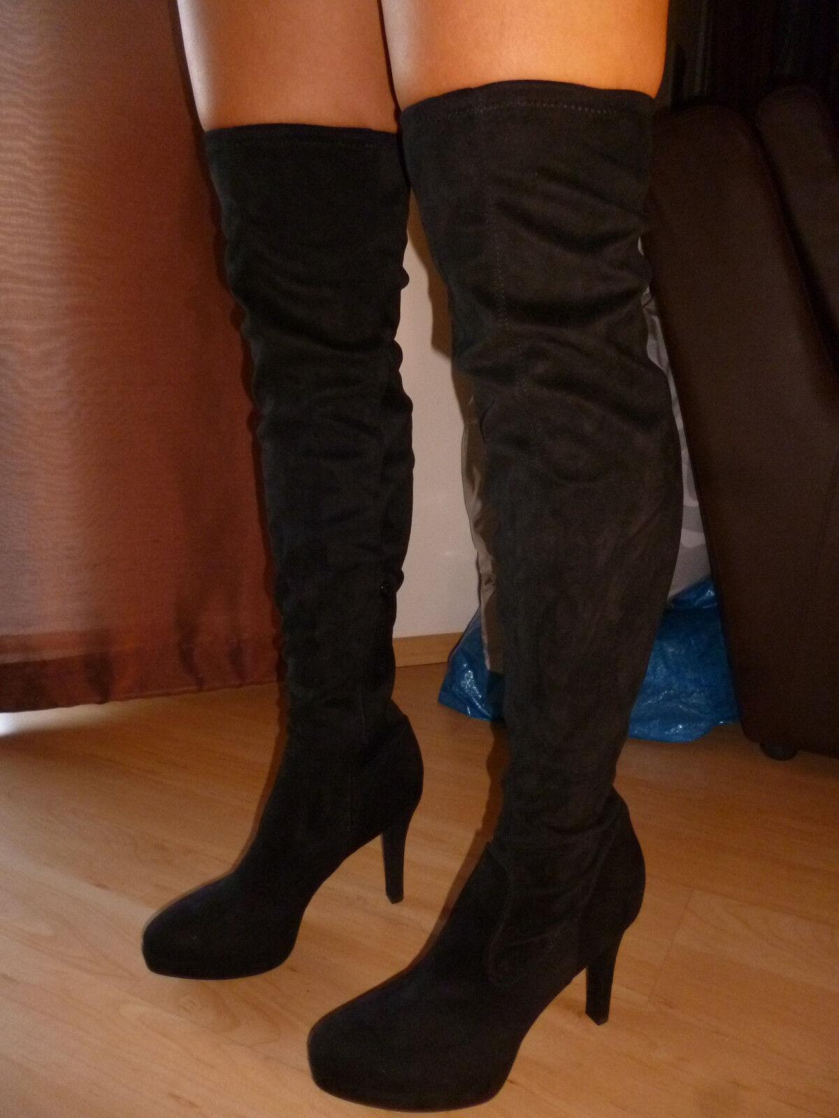 Overknees SCHWARZ Overkneestiefel, 72cm lang, Catwalk Stiefel, Gr. NEU 41-42, NEU Gr. 8e164e