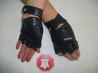 WOMEN'S BLACK LEATHER FINGERLESS GLOVES SIZE  6.5, 7, 7.5, 8