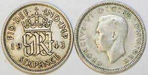 1937-To-1946-George-VI-Argent-Sixpence-Votre-Choix-de-Date-Annee