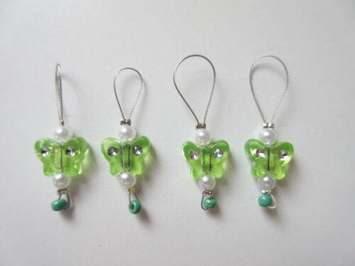 4 Pièces maschenmarkierer ~ à la main ~ Design Butterfly Green #038
