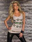 Top Canotta Donna T-shirt Maglietta M & V 8128-B514 Tg L/XL **