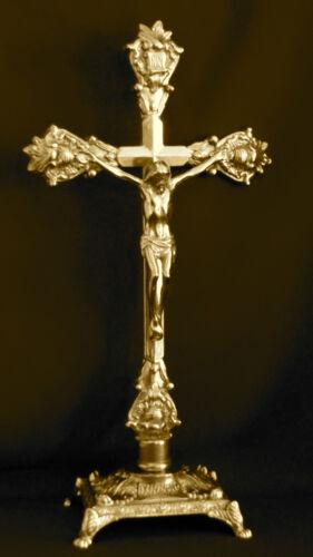 In Ottone Crocifisso Croce Gesù Cristo Altarfix Oggetto D/'Antiquariato Altare