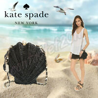 Kate Spade Wicker Clam Shell Splash Out Clutch/crossbody Bag In Black