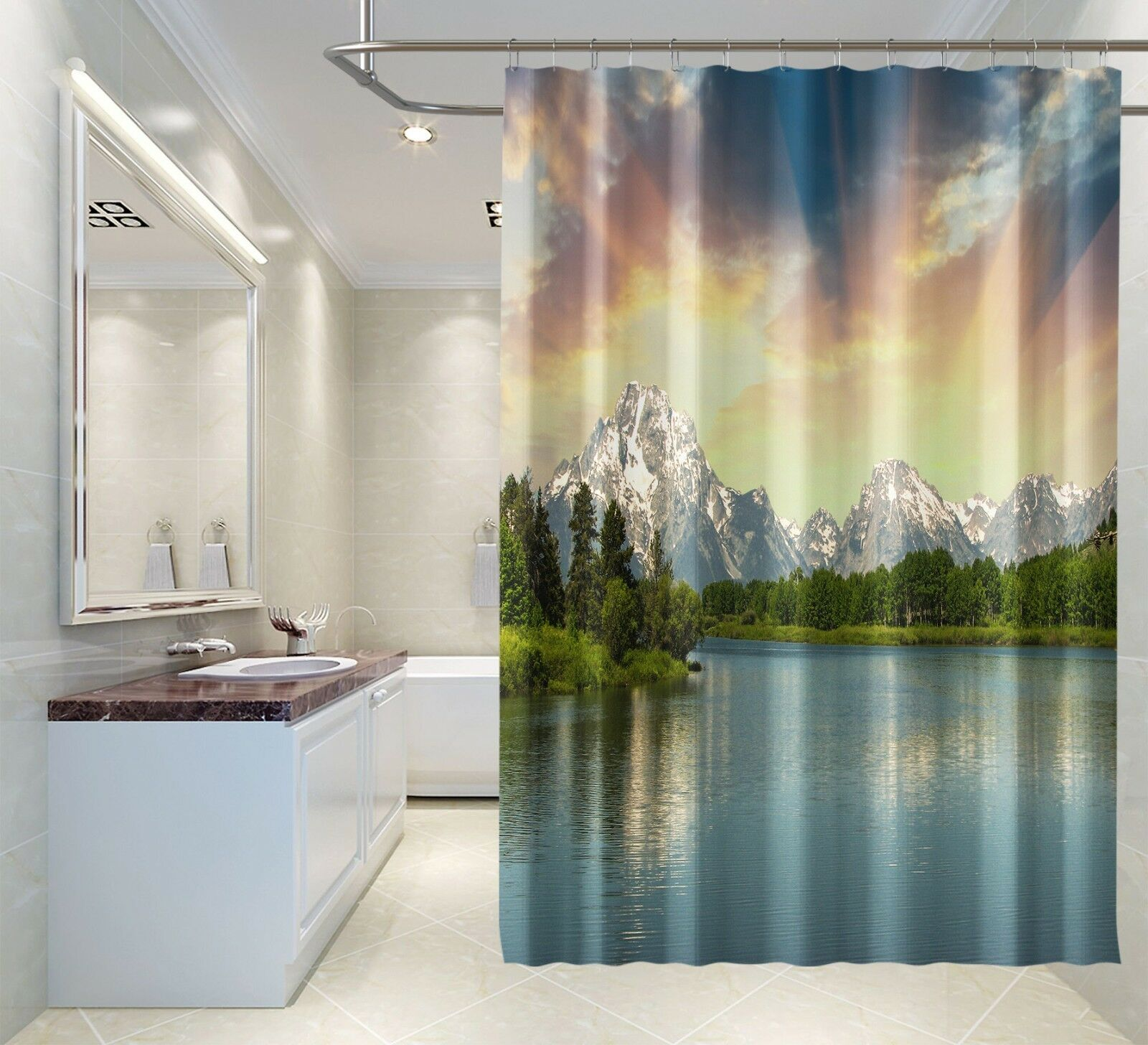 3D Mountain Lake 12 Shower Curtain Curtain Curtain Waterproof Fiber Bathroom Home Windows Toilet d54fe3