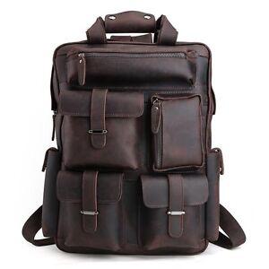 hommes-cuir-grand-sac-a-dos-Sac-de-voyage-Randonnee-Camping-Laptop-Case-marron