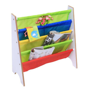 New Multi Color Kids Children Wooden Bookcase Shelf Toy