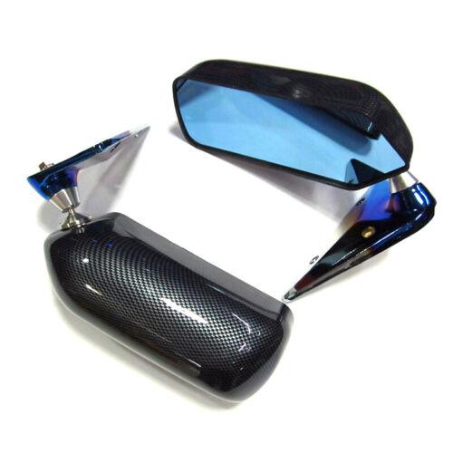 2x Car Manual Adjust Retro F1 Style Blue Side Rear View Mirror Carbon Fiber Look