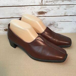 d56f972a7d9 Ecco Women s Brown Leather Slip On Pumps Heels Shoes Size EU 38