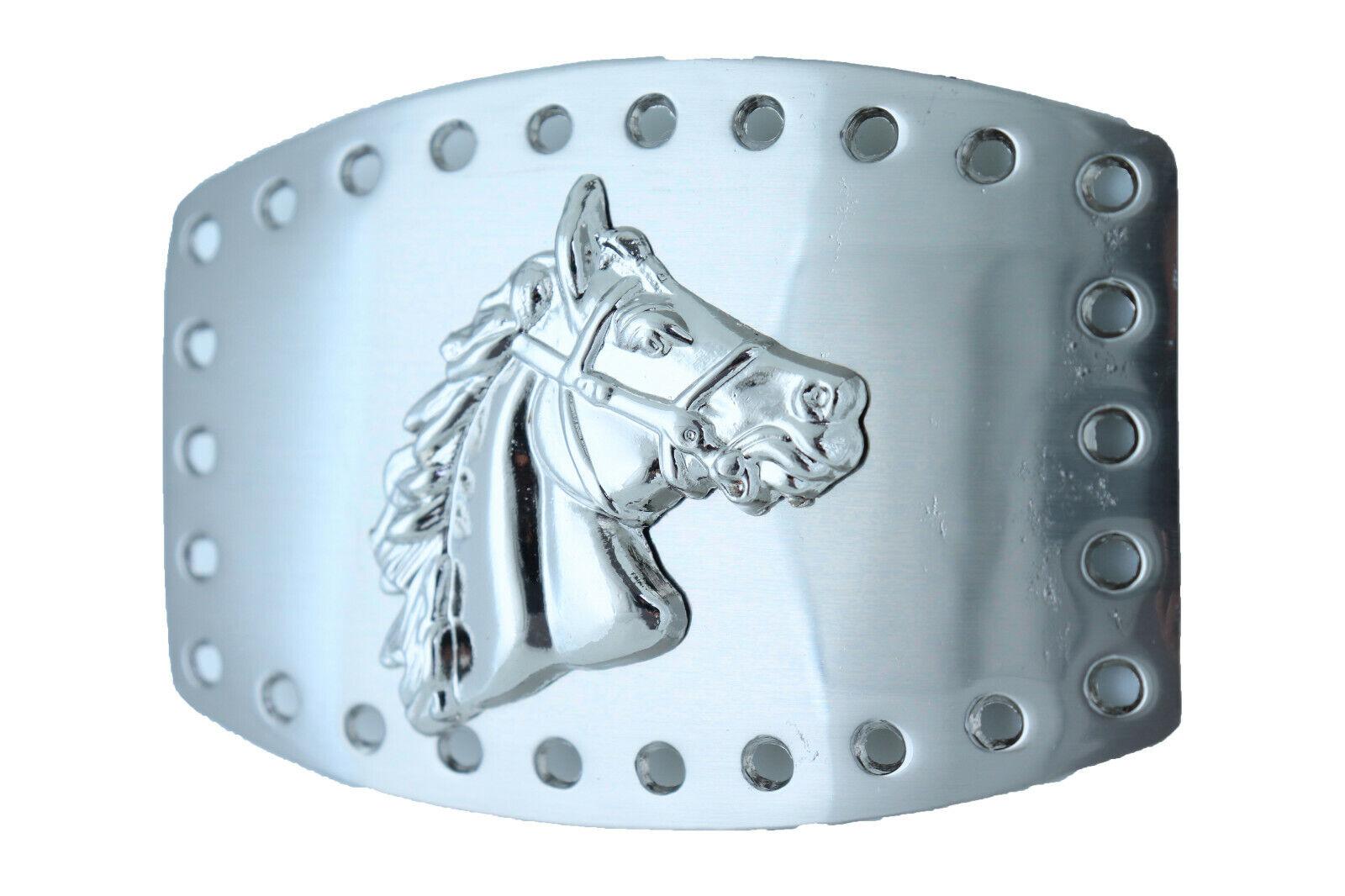 Herren Damen Western Mode Gürtelschnalle Silber Metal Rodeo Pferd Tier Land