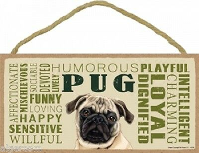 """PUG Subway Style Wood Dog Indoor Sign 10/""""x 5/""""  Made in USA fawn tan brown puppy"""