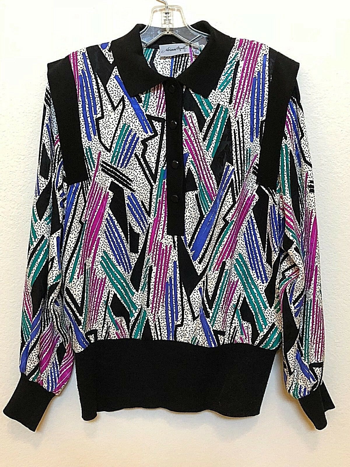 Adrianna Papell by Neiman Marcus Women's Silk Long Sleeve Blouse - Size 8 (5265)