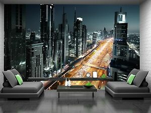 Wall Mural Photo Wallpaper Fleece bedroom living room City Dubai Marina Skyline