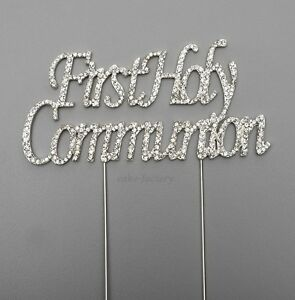 FIRST-1st-HOLY-COMMUNION-CAKE-PICK-TOPPER-DECORATION-DIAMANTE-SPARKLY
