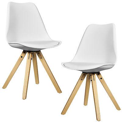 [en.casa] 2x Design Stühle Esszimmer Weiß Stuhl Holz Plastik Kunst-Leder