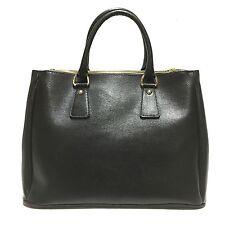 Borsa a mano nera shopping in saffiano tracolla handbag vera pelle made in italy