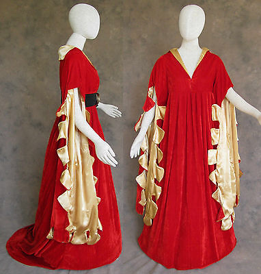 Red Scalloped Renaissance Medieval Dress SCA Ren Faire Game of Thrones LOTR L