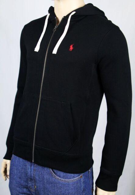 Sweatshirt Polo Pony Red Full Nwt Black Hoodie Zip Ralph Lauren GMVpLqSUz