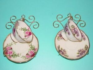 Teacup Rack Wall Mount For Single Teacup Saucer Set Of Two Cup