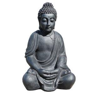Details zu XXL Riesige Deko Asien Garten BUDDHA Figur Statue Skulptur FENG  SHUI 52cm Stein