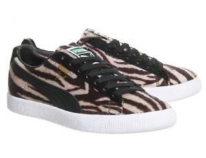 0d49396b14454f Puma CLYDE Suits Faux Fur Zebra Brown Khaki Black Stripes Basket ...