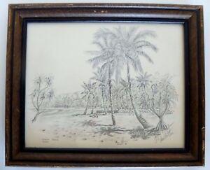 Vintage Waikiki Beach Hawaii Picture Print Art With Wood