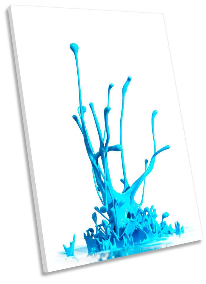 Blau Paint Splash Abstract Picture CANVAS WALL ART Portrait Print