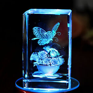 3d Laser Etched Crystal Paperweight Butterfly Flowers