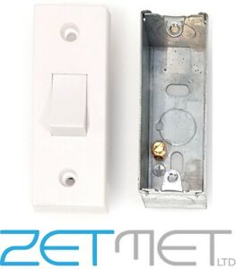 Slim 1 Gang 10A 2 Way Architrave Switch /& Pattress Box in White Plastic 10AX