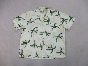 Paradise-Found-Button-Up-Shirt-Adult-Extra-Large-Yellow-Green-Floral-Camp-Mens