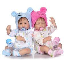 "Soft Silicone 22"" Lifelike Dolls Twins Vinyl Handmade Newborn Baby Toy Kids Gift"