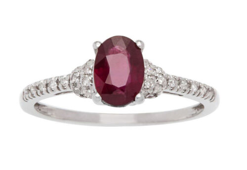 G-H, I1-I2 10k White Gold Genuine Oval Ruby and Pave Diamond Ring