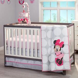 Disney Minnie Mouse Polka Dots 4 Piece Baby Crib Bedding Set See