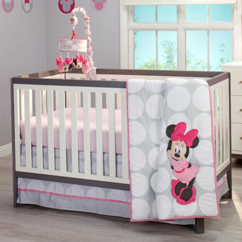 Disney Minnie Mouse Polka Dots 4 Piece Baby Crib Bedding Set See details