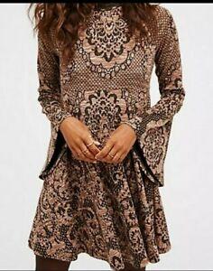 Free-People-Lorelei-Brown-Jacquard-Bell-Sleeve-Dress-XS