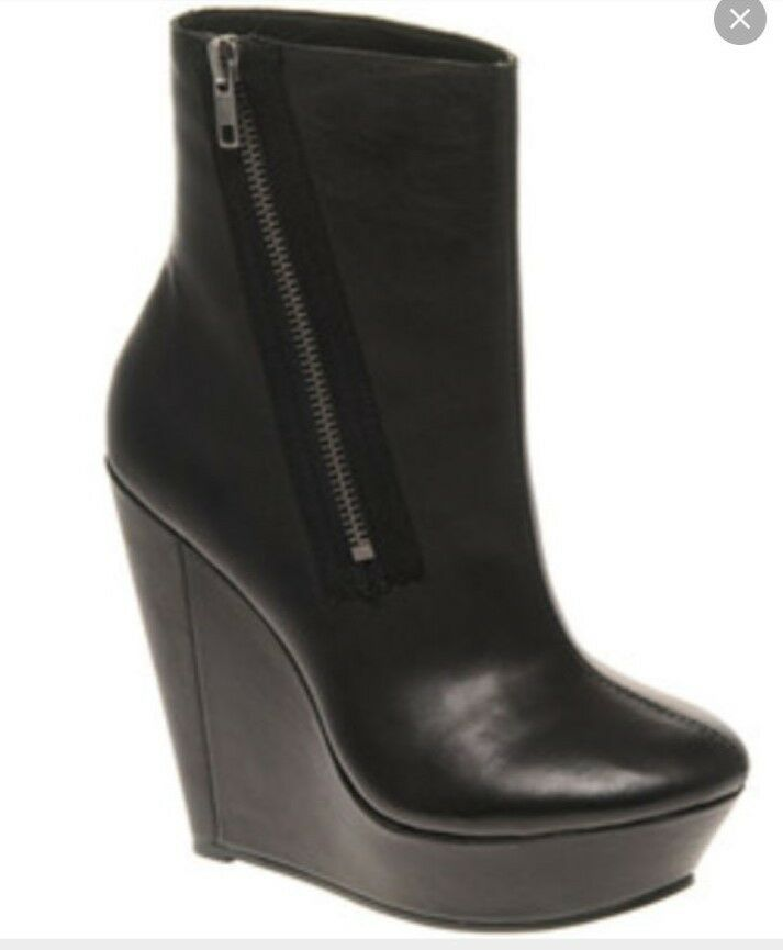 Messeca Carolina Low Shaft High High High Wedge Boots, BLACK Size 8.5 M 63c823