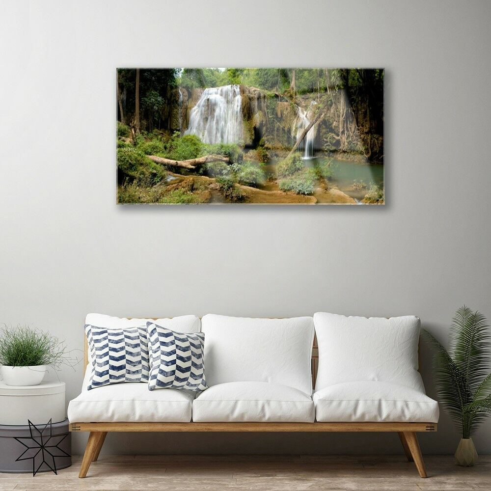 Print on Glass Wall art 100x50 100x50 100x50 Picture Image Waterfall River Forest Nature 51c7c8